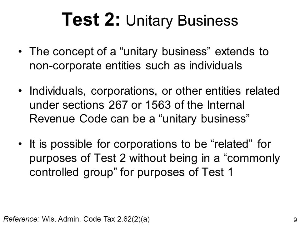 Test 2: Unitary Business