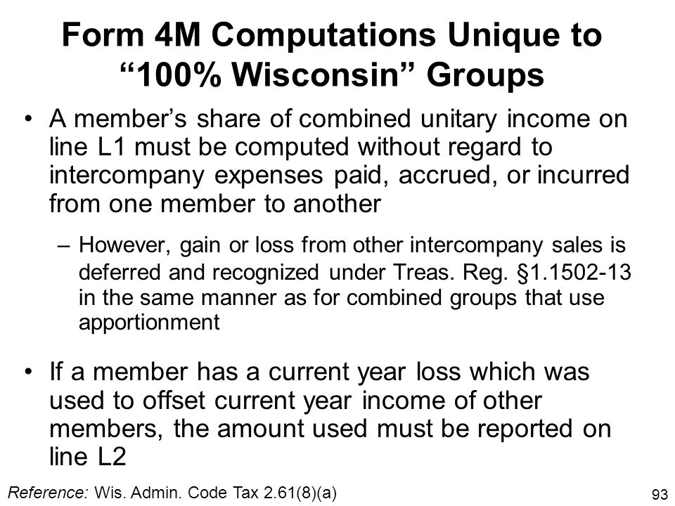 Form 4M Computations Unique to 100% Wisconsin Groups