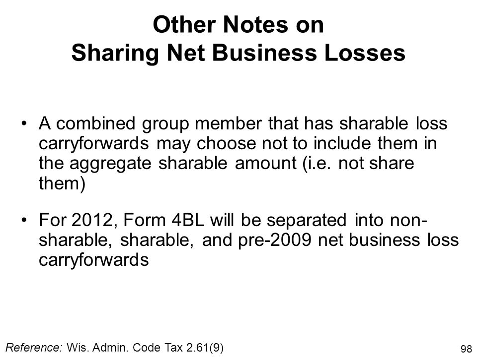 Other Notes on Sharing Net Business Losses