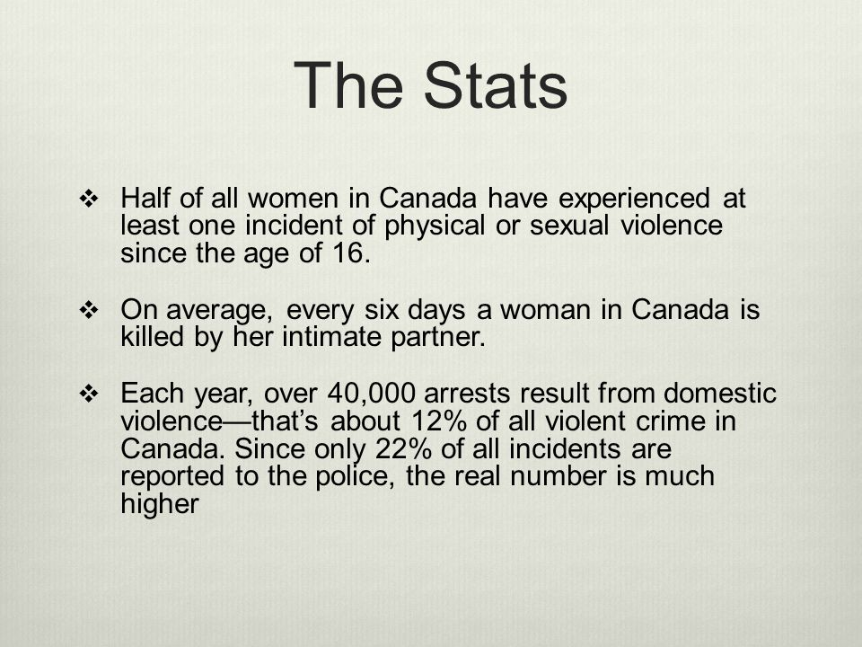 The Stats Half of all women in Canada have experienced at least one incident of physical or sexual violence since the age of 16.