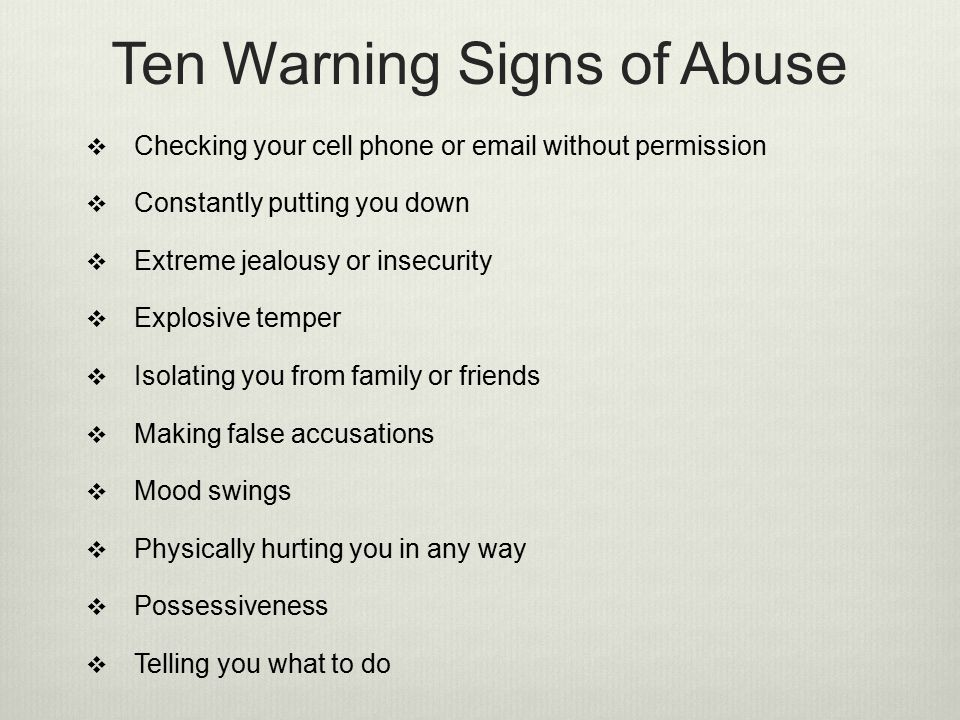 Ten Warning Signs of Abuse