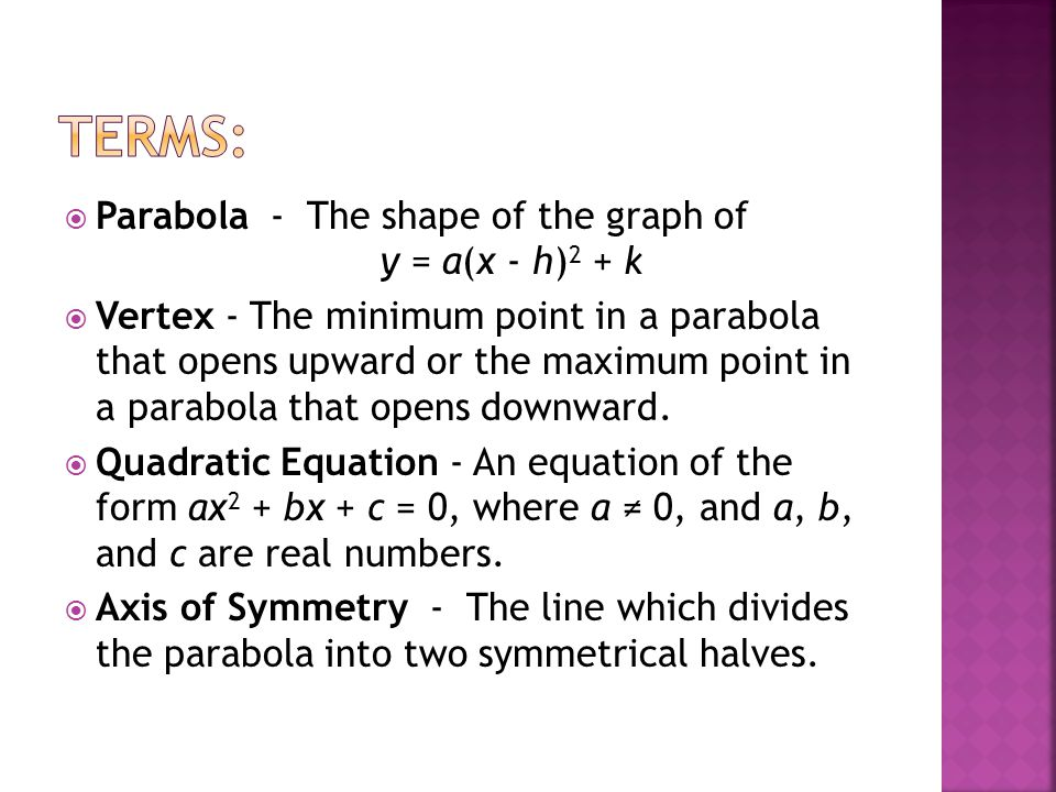 Terms: Parabola - The shape of the graph of y = a(x - h)2 + k