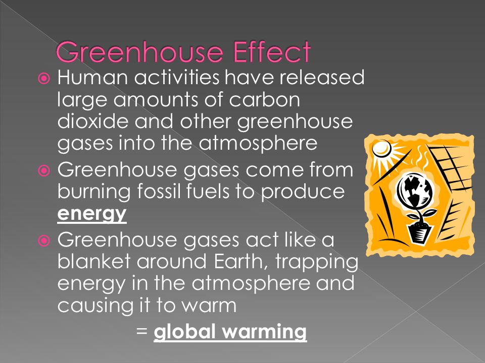 Greenhouse Effect Human activities have released large amounts of carbon dioxide and other greenhouse gases into the atmosphere.