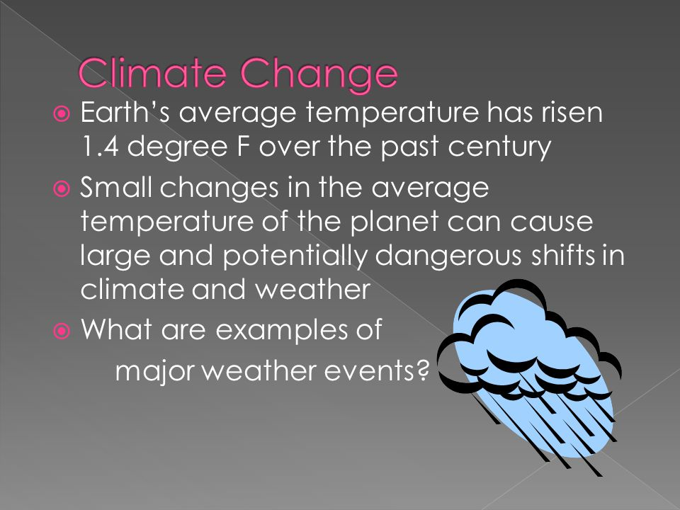 Climate Change Earth's average temperature has risen 1.4 degree F over the past century.