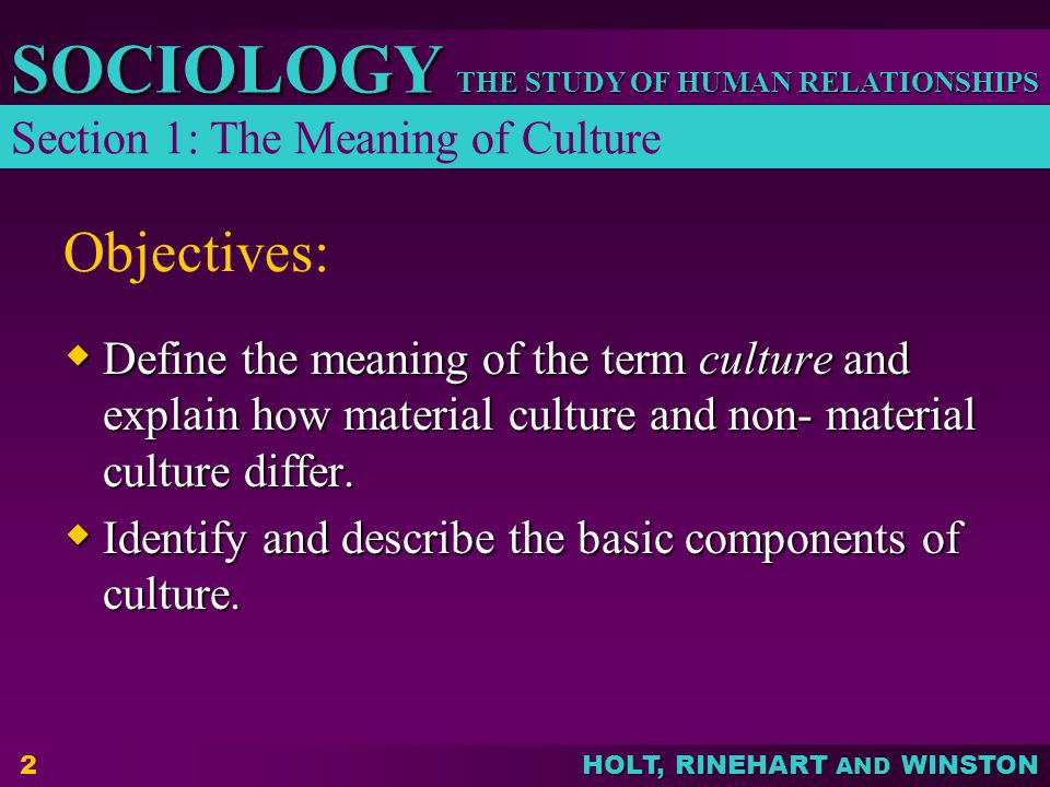 Objectives: Section 1: The Meaning of Culture