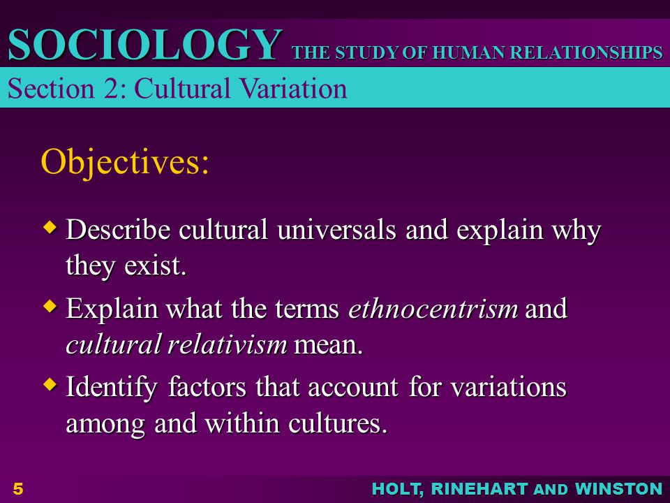 Objectives: Section 2: Cultural Variation