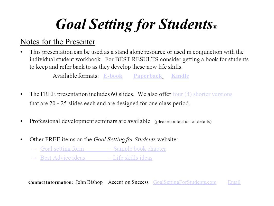Workbooks goals workbook : Goal Setting for Students® - ppt video online download