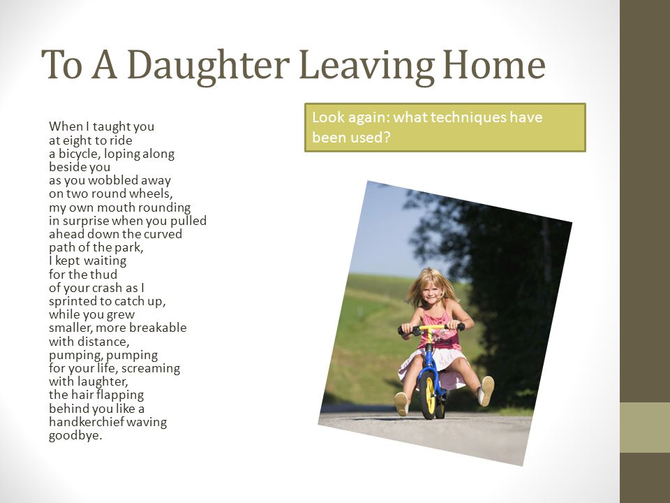 to a daughter leaving home theme