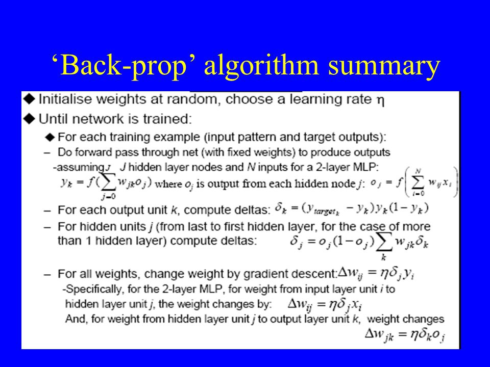'Back-prop' algorithm summary
