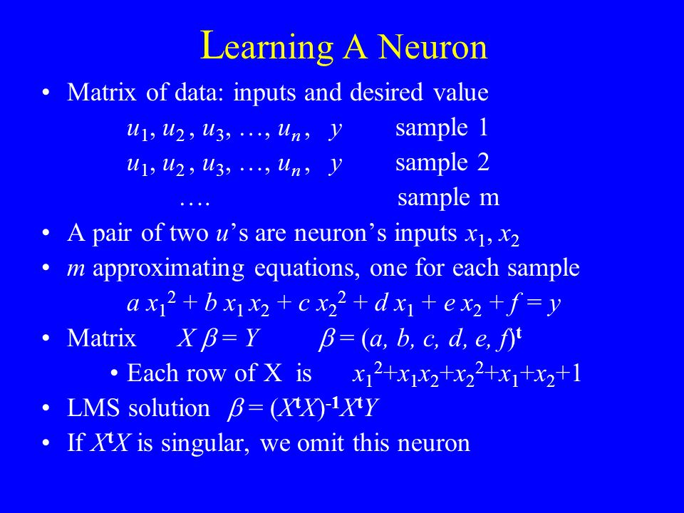 Learning A Neuron Matrix of data: inputs and desired value