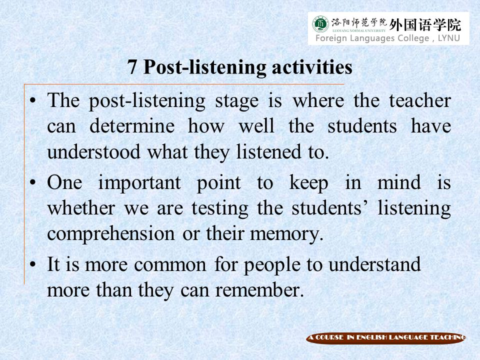 Unit 8 Teaching Listening
