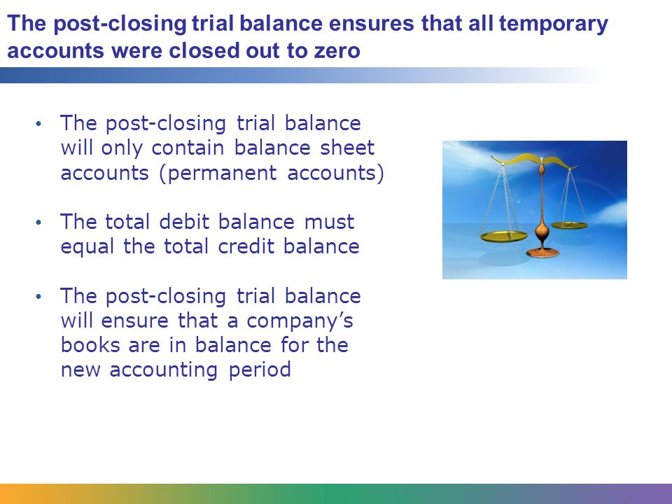 The post-closing trial balance ensures that all temporary accounts were closed out to zero