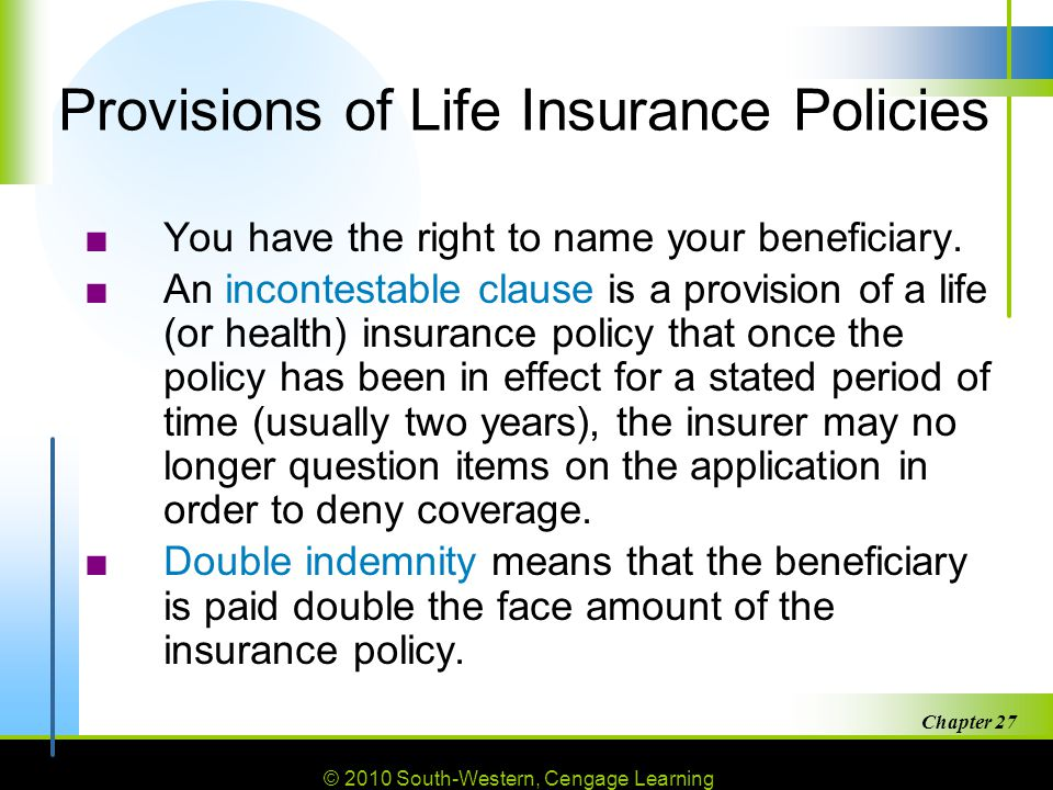 Provisions of Life Insurance Policies