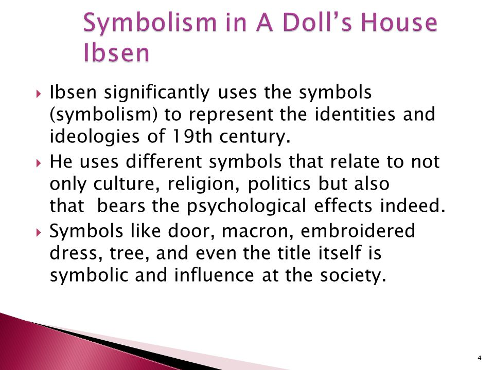 symbolism of a dolls house - symbolism of nicknames in a doll's house and major barbara the use of nicknames in literature is an important tool in which the author can provide insight into the attitudes of the characters toward each other and to provide illumination as to the nature of specific characters.