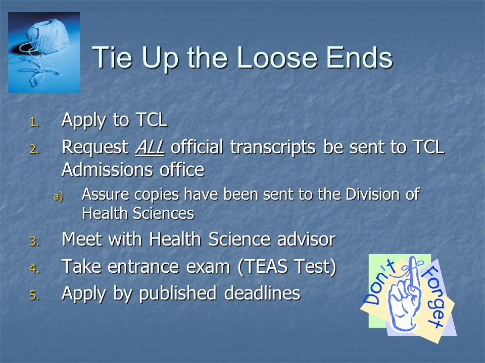 Tie Up the Loose Ends Apply to TCL