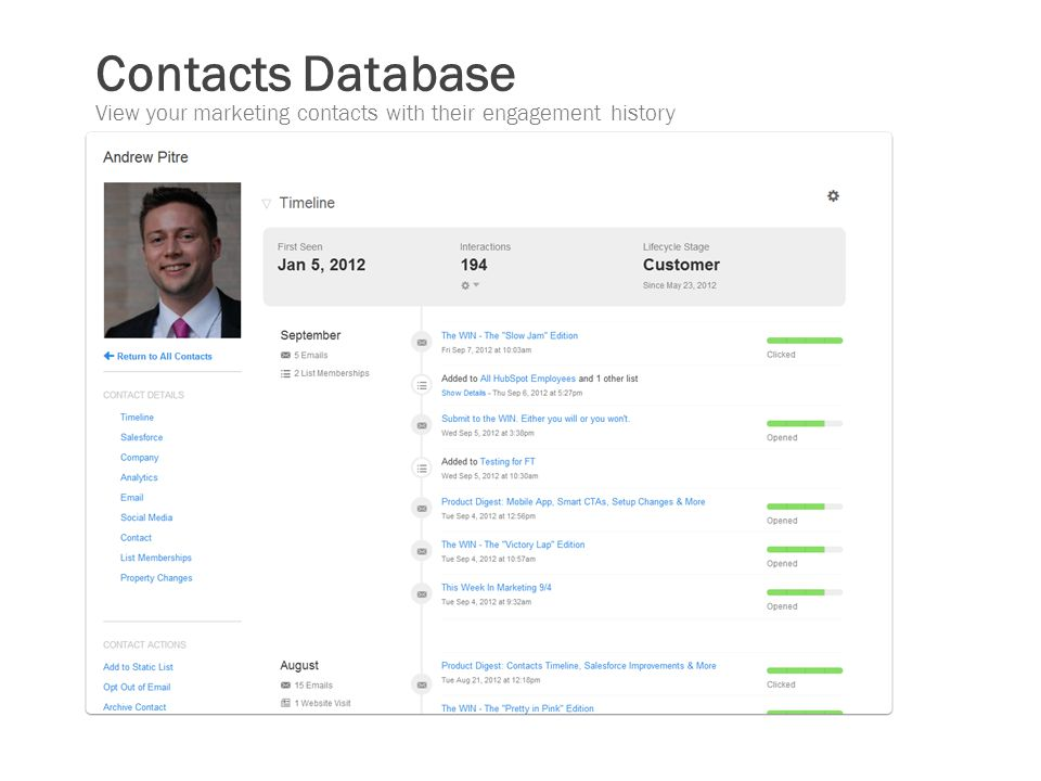 Contacts Database View your marketing contacts with their engagement history