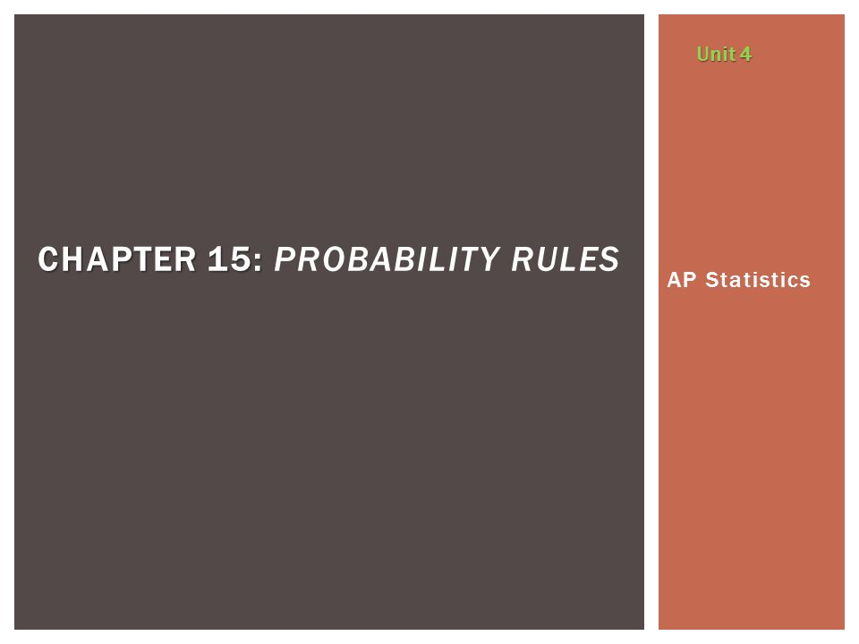 Chapter 15: Probability Rules