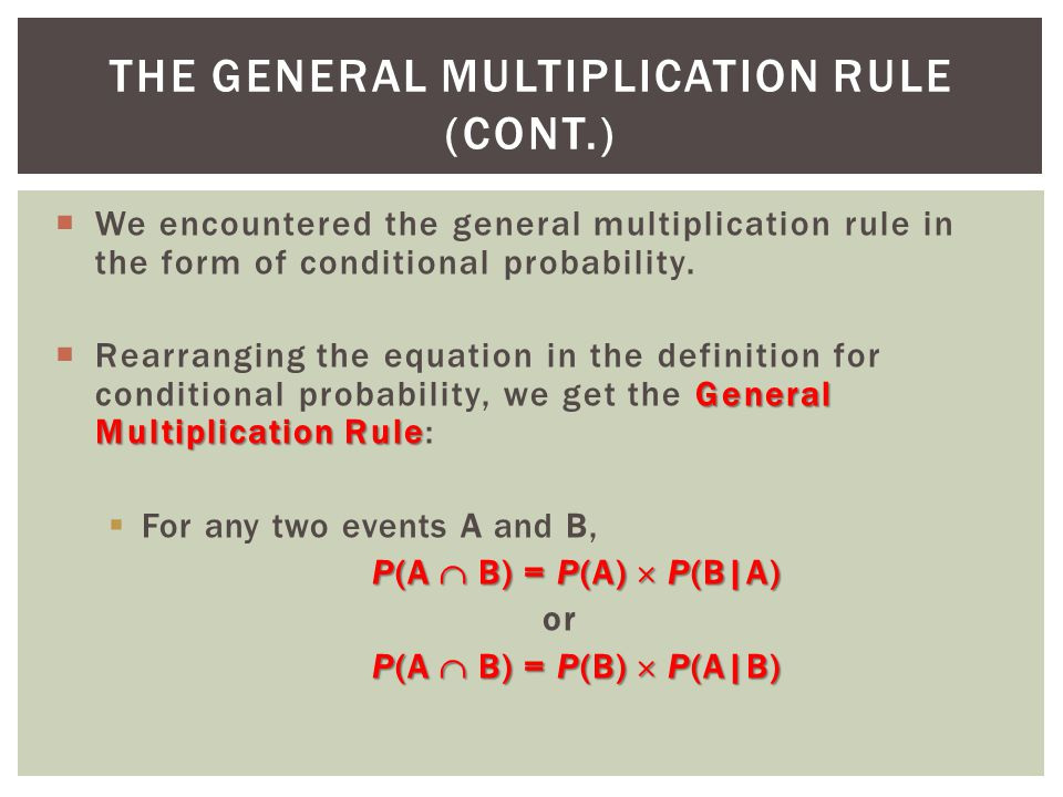 The General Multiplication Rule (CONT.)
