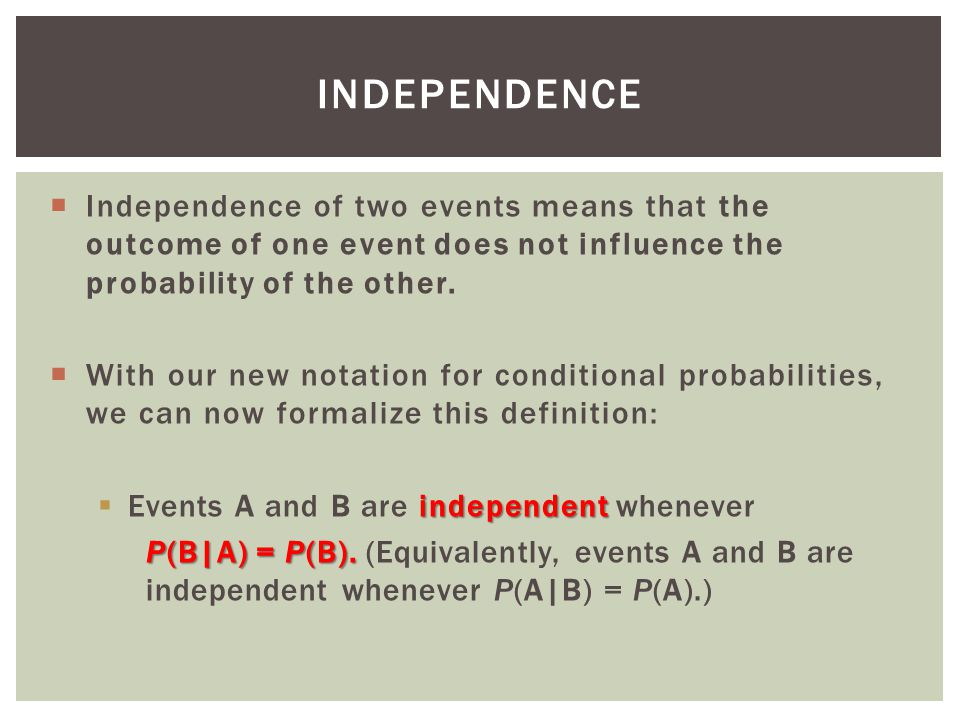 Independence Independence of two events means that the outcome of one event does not influence the probability of the other.