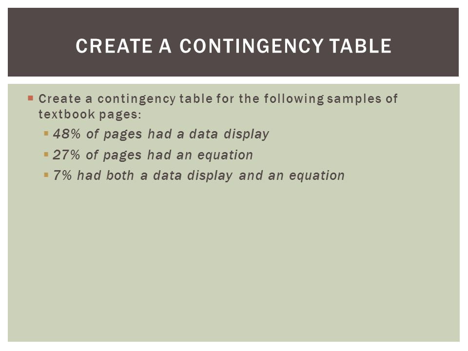 Create a Contingency Table