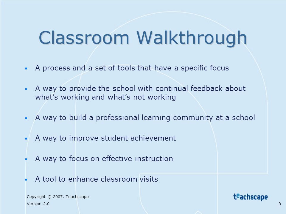 Classroom Walkthrough With Reflective Practice Ppt Video Online