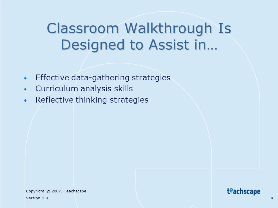 Classroom Walkthrough Is Designed to Assist in…