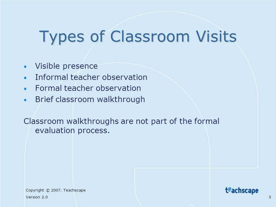 Types of Classroom Visits