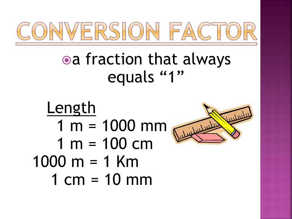 Conversion Factor a fraction that always equals 1 1 m = 1000 mm