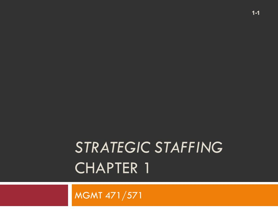 Strategic Staffing Chapter 1