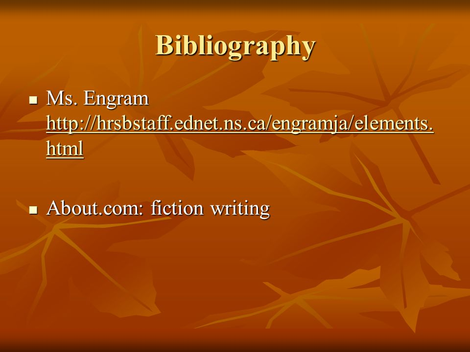 Bibliography Ms. Engram