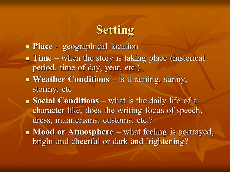 Setting Place - geographical location