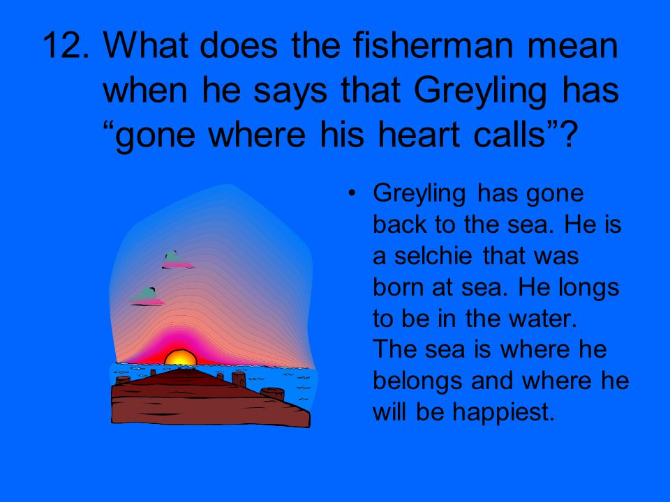 12. What does the fisherman mean when he says that Greyling has gone where his heart calls