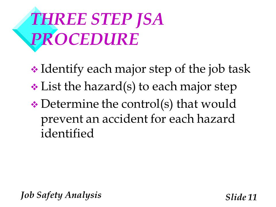 THREE STEP JSA PROCEDURE