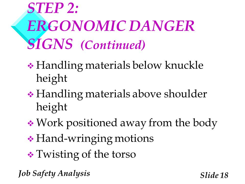 STEP 2: ERGONOMIC DANGER SIGNS (Continued)