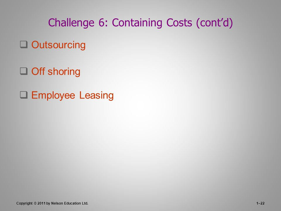 Challenge 6: Containing Costs (cont'd)