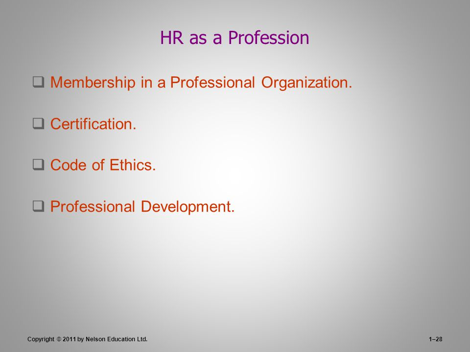 HR as a Profession Membership in a Professional Organization.