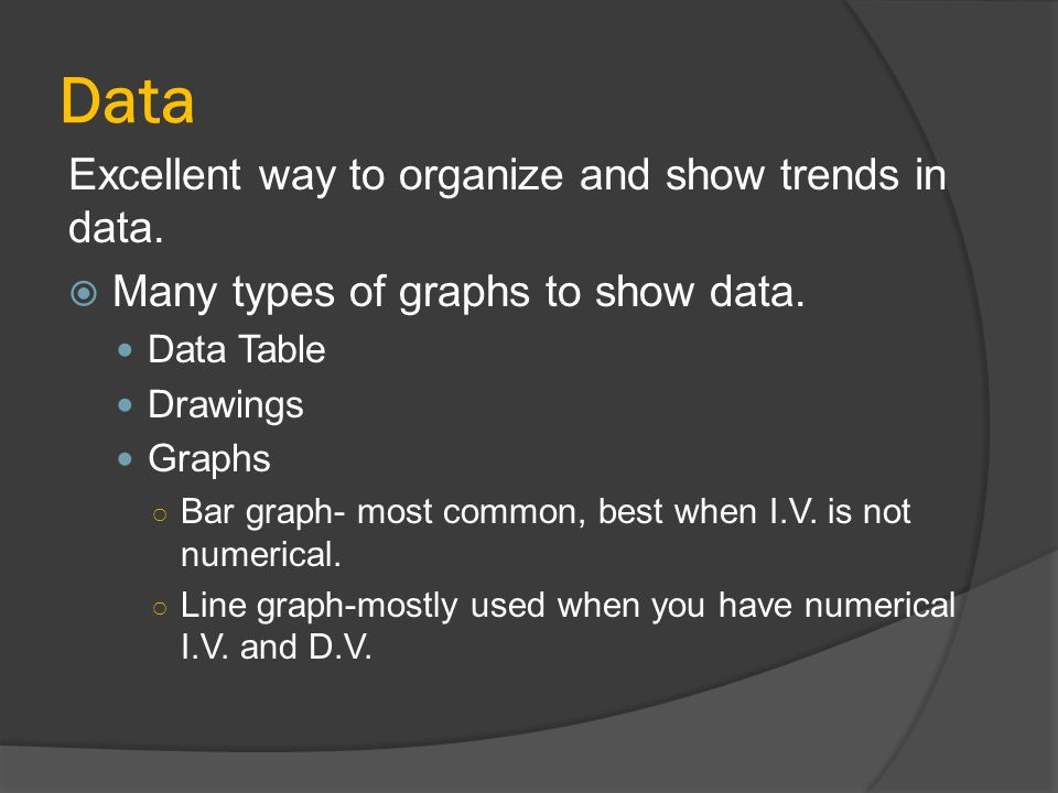 Data Excellent way to organize and show trends in data.
