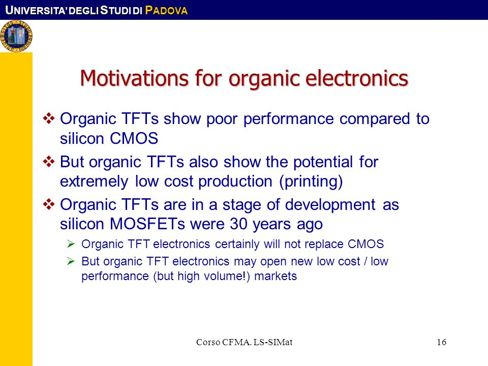 Motivations for organic electronics