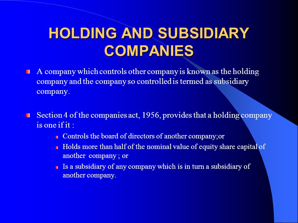 Holding And Subsidiary Company Examples In India