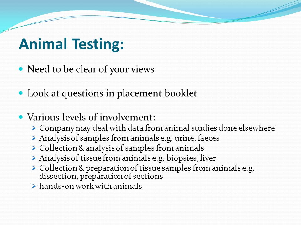 Animal Testing: Need to be clear of your views