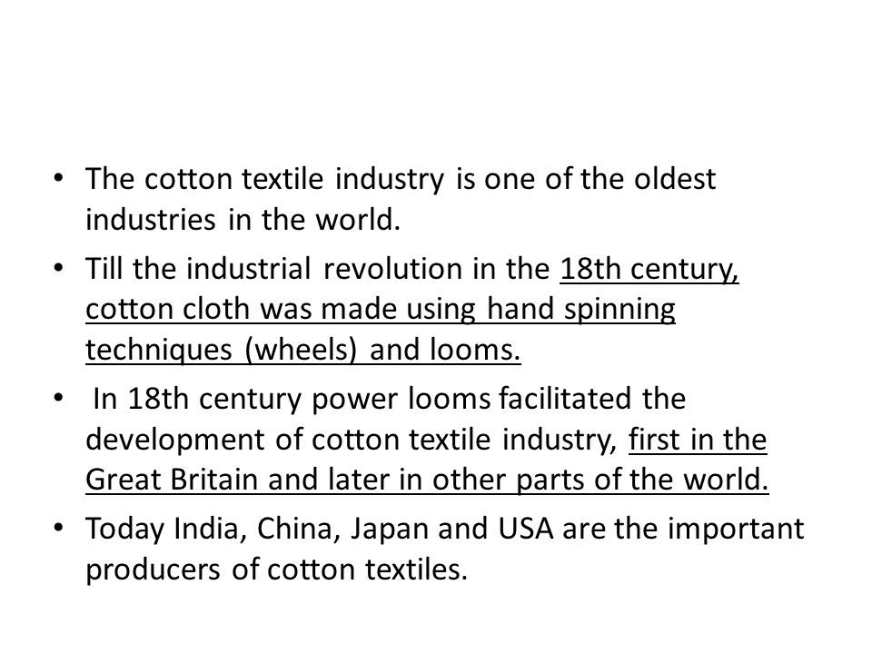 location of cotton textile industry in india