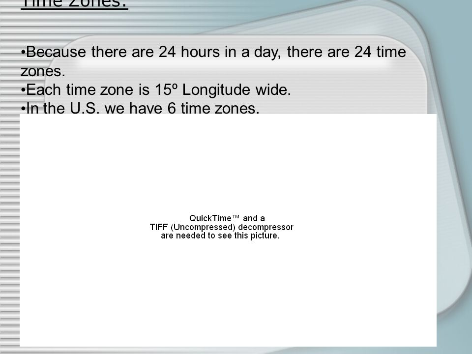 Time Zones: Because there are 24 hours in a day, there are 24 time zones. Each time zone is 15º Longitude wide.
