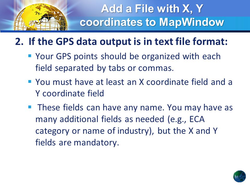 Add a File with X, Y coordinates to MapWindow - ppt video