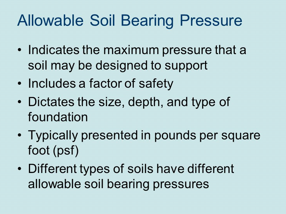 Allowable Soil Bearing Pressure