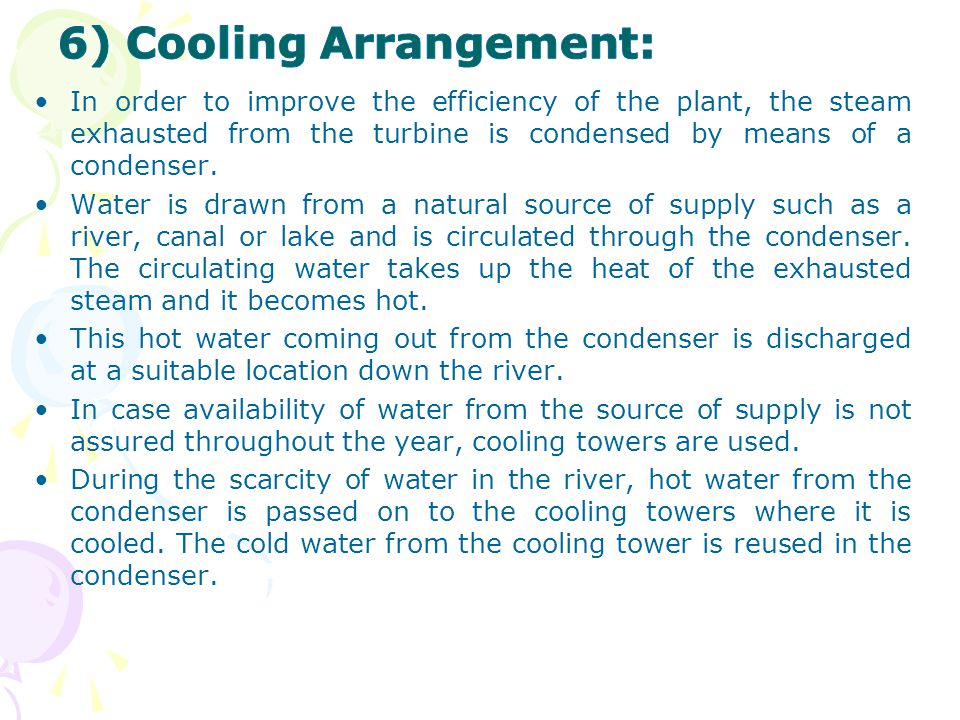 6) Cooling Arrangement: