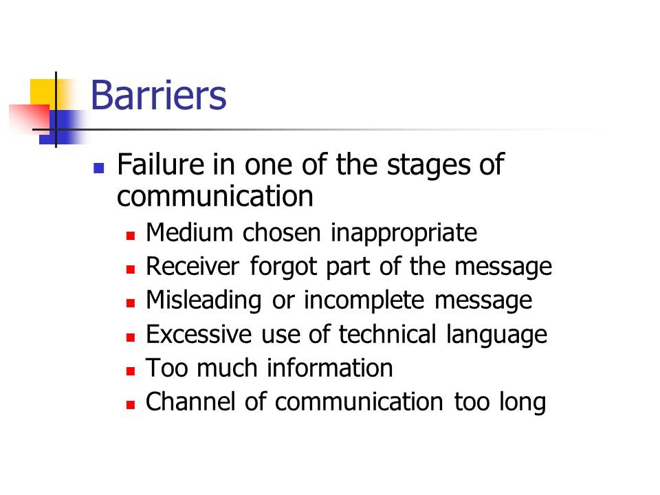 Barriers Failure in one of the stages of communication