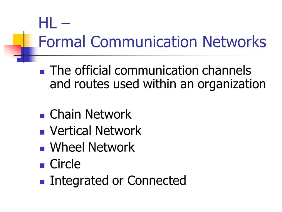 HL – Formal Communication Networks