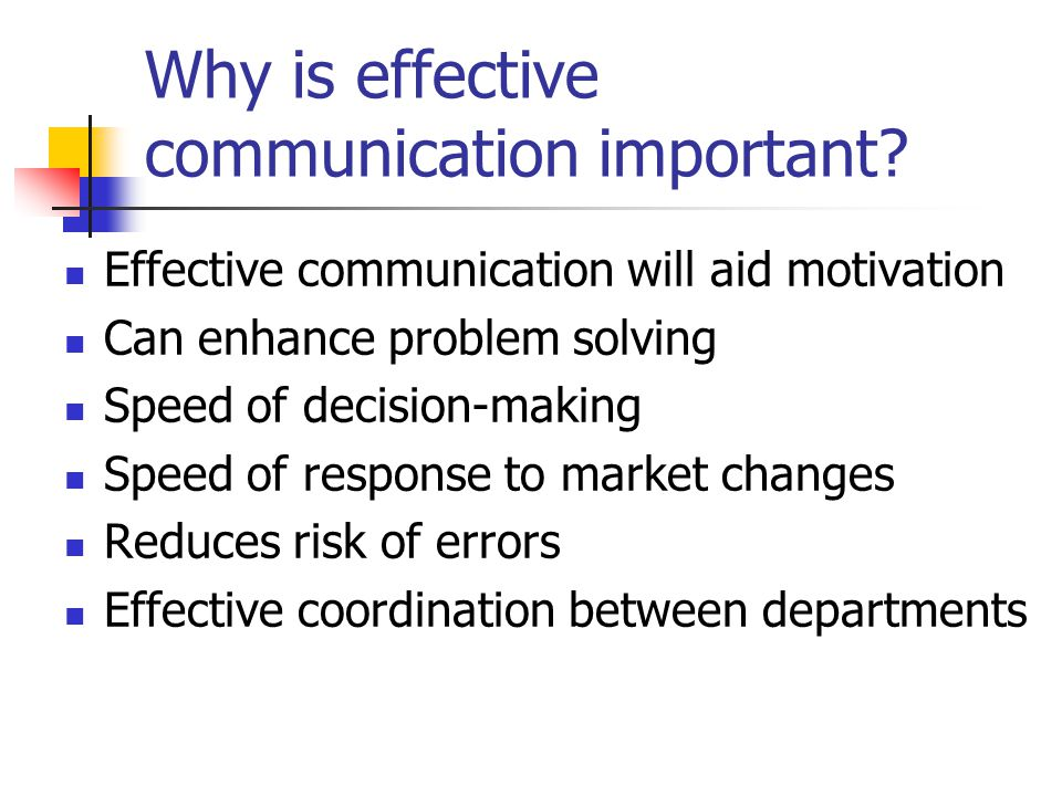 Why is effective communication important