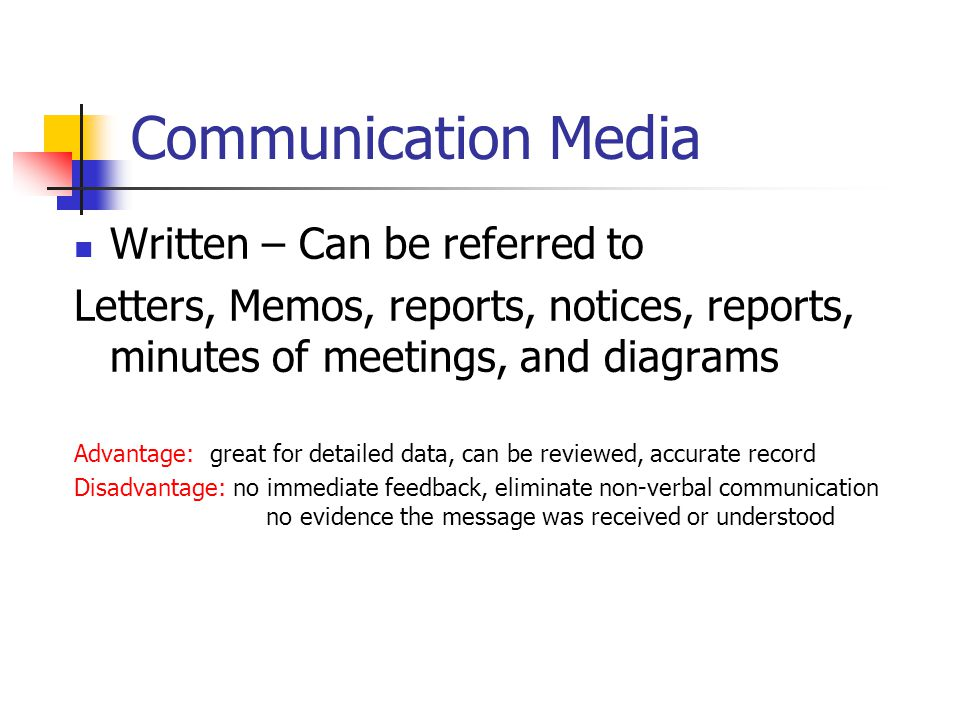 Communication Media Written – Can be referred to