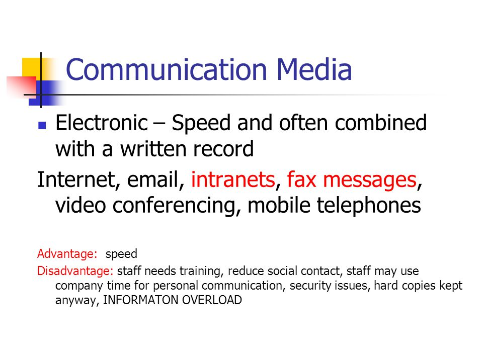 Communication Media Electronic – Speed and often combined with a written record.